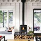 Kaminholz Aufbewahrung innen - Praktisch und dekorativ im Wohnzimmer
