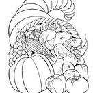 Thanksgiving Scenes and Cornucopia (Horn of Plenty) Coloring pages