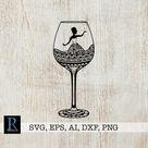 Wine SVG, Zentangle Wine SVG, Woman Cricut Design, single layered