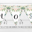 Elephant Baby Shower Bunting Banner, Pink Floral Banner, Little Peanut, Girl Elephant Floral Party Bunting Banner, Greenery, Boho BSL 88