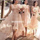 High Low Bridesmaid Dresses Lace V Neck Bridesmaid Dresses,HS1030   US 0 / Pic Color
