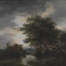 Jacob van Ruisdael, 1682 - Oak Trees by a Pond - fine art print - Canvas print / 50x50cm - 20x20