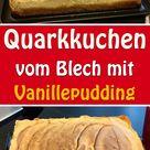 Quarkkuchen vom Blech mit Vanillepudding