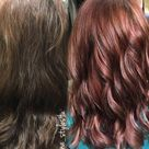 Rose gold hair color on previously brown hair color correction highlights follow me on Instagram @gina_styles4u