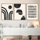 Abstract Geometric Print Set of 3 Prints Beige and Black Art Mid Century Modern Art Prints Modern Wall Art Decor Printable Digital Art