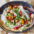 Rice Noodles with Cashew Sauce and Crunchy Veg