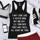 POTATO INTO FRIES Gym Tank Top Black, Funny Workout Tank Top, Workout Shirts, Women Workout Clothes,