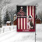 Boston Terrier God Bless America And Merry Christmas Custom Flag For Jesus And Dog Lovers On Christmas Days - Garden Flag / 12x18in