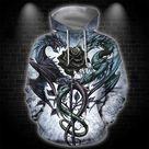 3D All Over Print Dragon Heart Tattoo Hoodie - Hoodie / 3XL