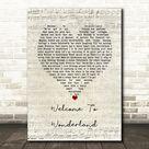 Anson Seabra Welcome To Wonderland Script Heart Song Lyric Wall Art Print - Canvas Print Wall Art Decor