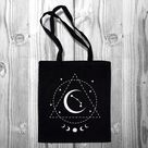 Zodiac Star Sign Tote bag 100% natural cotton eco shopping bag - stars constellation crystals magic spell star Lunar starsign horoscope