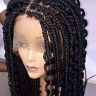 Box Braid Wig, Lace Frontal Wig, Wig For Black Woman, Handmade Braid Wig,African Braided Wig