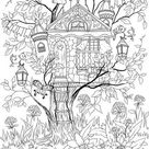 Treehouse  Printable Adult Coloring Page from Favoreads   Etsy