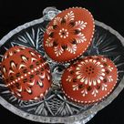 Wax Embossed Chicken Eggs, Set of 3 Decorated Green Chicken Eggs, Polish Pysanky