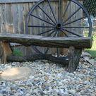 rustic oak log garden bench