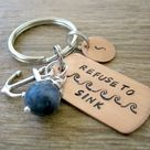 Ready to ship, Refuse to Sink Keychain with anchor charm & sodalite bead, inspirational, empowerment, motivational, optional initial disc