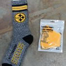 2 Pack NFL Pittsburgh Steelers Gift Set Marbled Deuce Socks Terrible Towel Face Mask Yellow Black White Gray - Large Fits Sizes 10-13