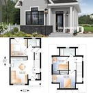 Small House Plans 6.5x8 with One Bedrooms gable roof   House Design 3d