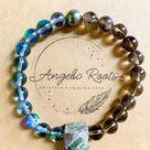 Smoky Quartz, Aura Quartz, & Pyrite Beaded Bracelet    Reiki Infused