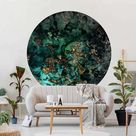 Round wallpaper self-adhesive - Golden Sea Islands Abstract | Bedroom and  living room