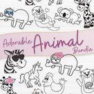 Adorable Animal SVG Bundle | Fox, Sloth, Zebra, Giraffe SVGs (792183) | SVGs | Design Bundles