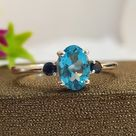 Natural Swiss Blue Topaz Vintage Engagement Ring-Blue Birthstone Ring For Love-Unique Blue Topaz Promise Ring For Her-616