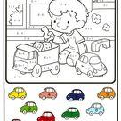 Calcul et colorie Le petit garçon et ses voitures