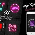 76 icons highlight and 1 EMPTY background to create your own, instagram story highlight covers, highlight icons