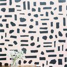 The Pearl Wallpaper in Gunmetal on Blush design by Juju - 2