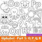 Alphabet Digital Stamps  Part 5  OPQR clip art  School | Etsy