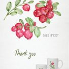 Lingonberry clipart. Watercolor red cowberries and frame. Summer clipart. Wild forest berries.