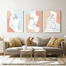 Line Body Art Abstract Nude Woman 3 Piece Wall Art Pastel   Etsy