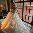 Off the shoulder, Princess wedding dress Elmi2 by Olivia Bottega. Lace up back wedding dress. Whole