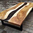 Black epoxy river table | Coffee table | Black walnut table