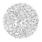 Winter time Christmas coloring pages. Pencil, hand drawn.