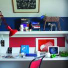 Bedroom for an older child or teenager - desk or study area.  Wall: Stiffkey Blue, Cook's Blue, Blackened & Blazer Modern Emulsion.
