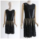 Vintage 1920's dress vintage 1920's sequin tulle dress original twenties art deco flapper dress roaring twenties sequin dress UK 8-10 US 4-6