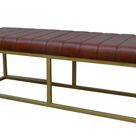 Leather Bench Seat With Brass Frame