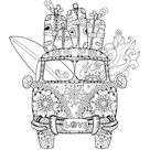 Retro Bus with Suitcases Coloring Page • FREE Printable eBook