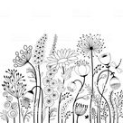Abstract flowers and butterfly in black and white