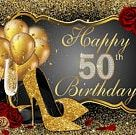 Happy 50th Birthday Glitter Gold Balloons Rose Heels Photography Studio Backdrop Background Banner