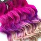 Pink and Purple Hair Clip Extensions, Pink Ombre Tape IN Hair, Purple Ombre Hair, Weave, Human Hair, Full Set, Bundle, Hippie Hair, Dreads