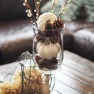 White Pumpkins and Pine Cones