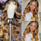 eBay Cambodian Highlights Ombre Blonde Loose Wave Lace Part Human Hair Wigs For Women