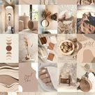 Boho Aesthetic Wall Collage Kit, Beige Cream Boho Vibes Mood Board, Light Brown Photo Collage Kit