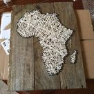 Africa Map | String Art | Africa Wall Decal | Africa Continent | Africa Decal | Home Decor | Gift for Her | Map Art | Safari Wall Decal
