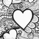 INSTANT DOWNLOAD Coloring Page - Lots of Hearts Print zentangle inspired, doodle art, printable