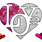 LOVE Heart  PDF Coloring Page | Etsy