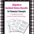 Algebra Guided Interactive Math Notebook (Bundle): [[1st Semester Concepts]]