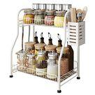 Kitchen Spice Racks, 2-Tier Standing Bathroom Shelf Kitchen Countertop Storage Organizer Jars Bottle Sauce Seasoning Rack Shelf Holder- Space Saving, Mesh Wire - White / Steel